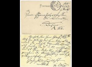 """Bayern 1896, Portofreiheit Vermerk """"fco Dr. Will"""" auf Ortskarte Regensburg #1775"""