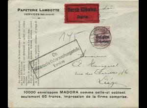 Dt. Besetzung Belgien 1917, EF 60 C. auf Eilboten Zensur Brief v. Verviers.