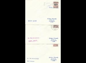 3 Kiel Schiffspost Briefe m. versch. Norwegen Schiffs Stempeln