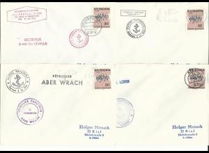 4 Kiel Schiffspost Briefe m. versch. Frankreich Schiff Stempeln