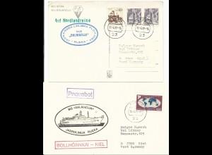 2 Kiel Schiffspost Briefe m. versch. Jugoslawien Schiffs Stempeln