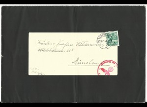 Schweiz 1941, 5 C. auf Trauer Falt Brief v. Ingenbohl m. Bahnpost u. DR Zensur