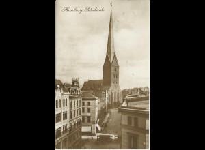 Hamburg Petrikirche, gebr. sw-Foto-AK v. 1928 m. Tram Bahn. #3081