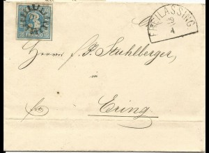 Bayern 1860, MR 135 Freilassing auf Brief v. Hüttenau m. sehr breitrandiger 3 Kr
