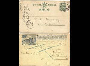 Württemberg 1891, 5 Pf. Ganzsache m. rs. Bildzudruck Solbad Hall, AK Vorläufer
