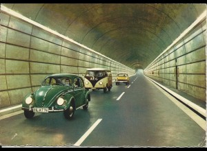 Rendsburg, Tunnel m. Autos, gebr. Foto-AK. #3076