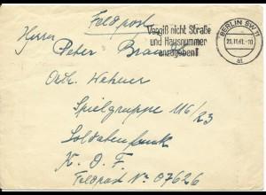 FP WK II 1941, Berlin, Brief AOK Norwegen