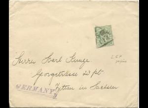 GB, 1/2 P. m. perfins Firmenlochung auf Drucksache Brief n. Deutschland. #3061
