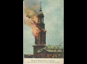 Hamburg, Brand der Michaeliskirche 1905, gebr. Farb AK. #3083
