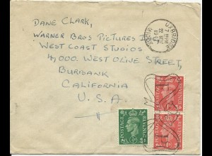 Dane Clark, GB Brief v. 1947 an seine Warner Bros. Adresse. #3070