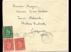 GB 1947, Briefumschlag, adressiert an Schauspieler Dennis Morgan. #3068