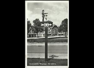 Freudenstadt Weganzeiger, 1938 gebr. sw AK m. Gasthaus Bahnpost Stpl.