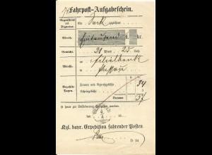 Bayern, Zier-K1 Vilshofen auf Fahrpost Aufgabeschein f. eine Wertsendung