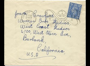 Joan Crawford, GB Brief v. 1947 an ihre Warner Bros. Adresse. #3071