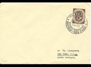 BRD 1952, SAS Erstflug Brief Bremen-New York m. EF 60 Pf. Posthorn