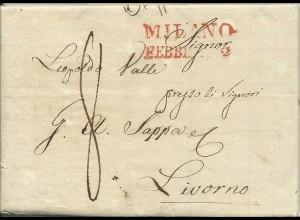 Lombardei 1833, roter L2 MILANO auf Brief n. Livorno Toscana. Italien. #3059
