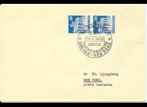 BRD 1952, SAS Erstflug Brief Bremen-New York m. Paar 30 Pf. Bauten