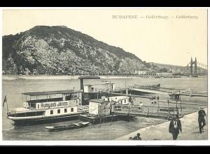 Ungarn, Budapest, Donau Schiff m. Personen, 1912 gebr. sw-AK