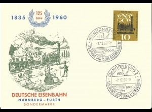 BRD 1960, 125 Jahre Dt. Eisenbahn, illustrierte FDC Karte