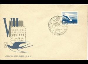 Polen 1957, FDC 7. Nat. Briefmarken Ausstellung Warschau