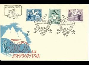 Polen 1957, Skisport, FDC m. 3 Werten komplett.