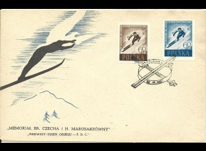 Polen 1957, Skisport, FDC m. 2 Werten komplett.
