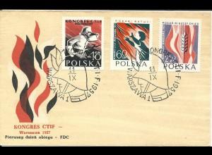 Polen 1957, Int. Kongress Kampf gegen das Feuer, FDC m. 3 Werten komplett.