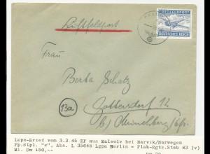 FP WK II 1945, Luft Feldpost Brief v. Masolv bei Narvik, Norwegen. #2317