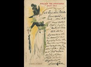 Frankreich, Palais du Costume Projet Felix, 1900 v. Paris gebr. Farb AK. Mode.