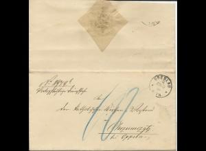 """DR 1884, K1 Breslau auf Portopflichtige Dienstsache Brief m. Porto """"10"""" Pf."""