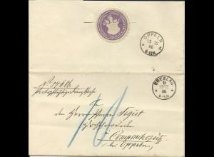 """DR 1886, K1 Breslau 9. auf Portopflichtige Dienstsache Brief m. Porto """"10"""" Pf."""