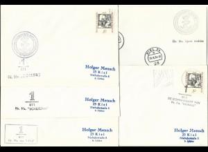 NL, 5 Schiffspost Brief m. BRD Kiel Stempeln, dabei Königliche Marine