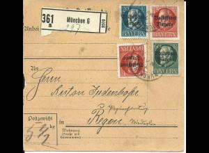 Bayern 1919, 4 Werte Volksstaat auf Paketkarte v. München 6 n. Regen.