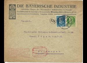 Bayern 1918, 5+20 Pf. auf Firmen Brief m. Belgien Zensur v. München n. Antwerpen