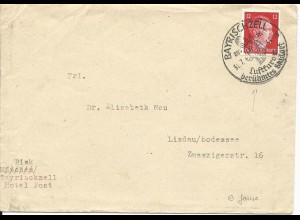 DR 1944, Gemse im Stpl. v. Bayrischzell auf Brief m. 12 Pf.
