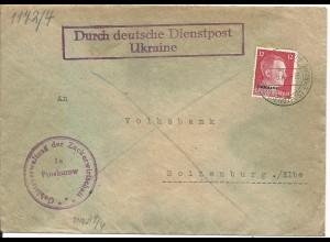Dt. Besetzung Ukraine 1943, Brief Dt. Dienstpost Proskurow Zuckerwirtschaft.