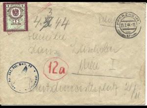 FP WK II 1944, Brief v. Pforzheim n. Österreich m. Gebührenmarke und Amtsstempel