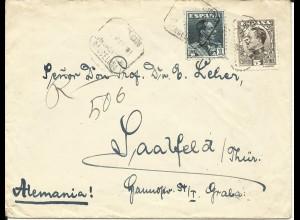 Spanien 1931, 1 Pta.+5 C. auf Einschreiben Brief v. Barcelona n. Deutschland.