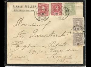 Portugal 1900, 5 Marken auf Trauer Brief v. Setubal n. Frankreich.