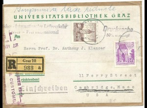 Österreich, 60 G.+4 S auf Adressträger f. Drucksache Einschreiben v. Graz n. USA