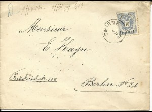 Österreich Levante 1889, 1 Pia. auf Brief v. SMIRNE n. Berlin