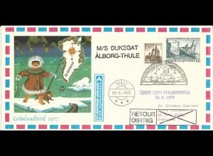 Österreich Grönland 1977, Polar Arktis Schiffspost Brief m. Graz Eisbär Stempel.