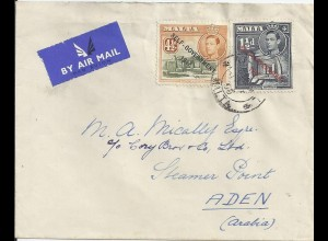 Malta 1950, 1 1/2+4 1/2d. auf Luftpost Brief nach Aden. Destination! #417