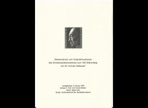 BRD 876, 50 Pf. Adenauer, amtlicher Schwarzdruck (Michel SD1).