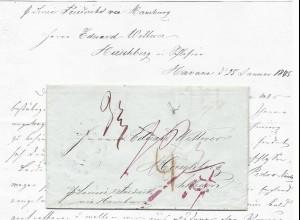 """1845, """"Schiffs Brief Post Hamburg"""" auf Brief v. Havanna n. Preussen"""