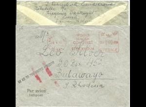Schweden 1946, Luftpost Leitstpl. auf Brief m. Judaika Maschinenstempel