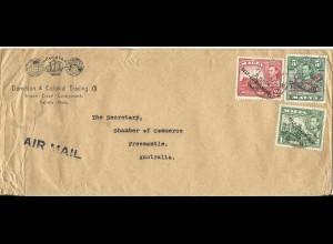 Malta 1952, 5 Sh.+2+1d auf Luftpost Brief n. Australien. Hohe Frankatur!