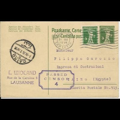 Schweiz 1915, 5 C. auf 5 C. Ganzsache m. Zensur v. Lausanne n. Ägypten. #3045