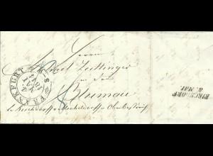 Taxis 1844, Porto Brief v. Frankfurt n. Blumau bei Kirchdorf, Österreich.