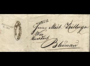 """Österreich Ungarn 1843, L1 PEST auf Porto Brief n. Blumau via """"Wien Kirchdorf"""""""